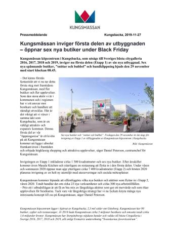 Kungsmässan inviger första delen av utbyggnaden – öppnar sex nya butiker under Black Friday