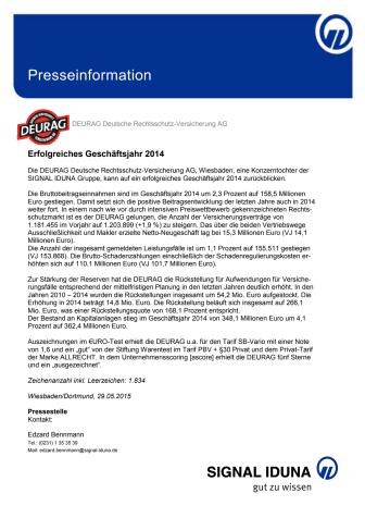 DEURAG Deutsche Rechtsschutz-Versicherung AG: Erfolgreiches Geschäftsjahr 2014