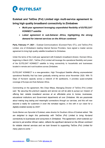Eutelsat and TelOne (Pvt) Limited sign multi-service agreement to bring high quality broadband connectivity to Zimbabwe