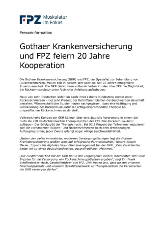 Gothaer Krankenversicherung und FPZ feiern 20 Jahre Kooperation