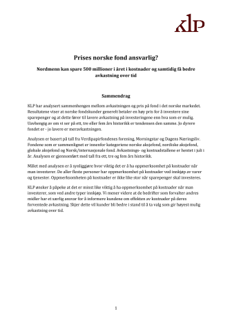 Analyse prising og avkastning i norske verdipapirfond