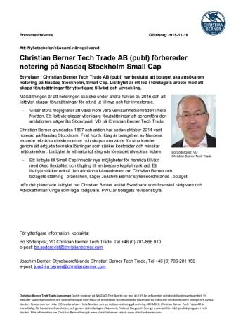 Christian Berner Tech Trade AB (publ) förbereder notering på Nasdaq Stockholm Small Cap