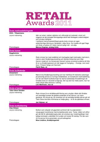 Vinnarna i Retail Awards 2011