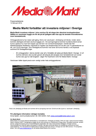Media Markt fortsätter att investera miljoner i Sverige