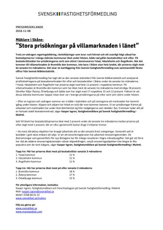 """Mäklare i Skåne: """"Stora prisökningar på villamarknaden i länet"""""""