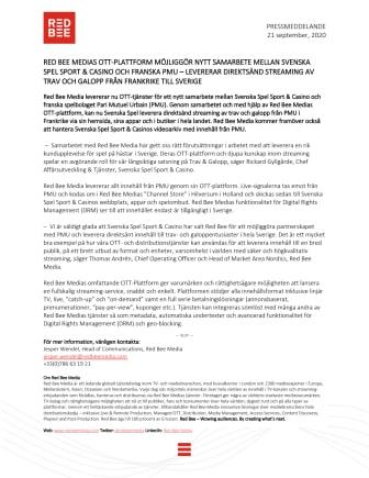 Red Bee Medias OTT-plattform möjliggör nytt samarbete mellan Svenska Spel Sport & Casino och Franska PMU - Levererar direktsänd streaming av trav och galopp från Frankrike till Sverige