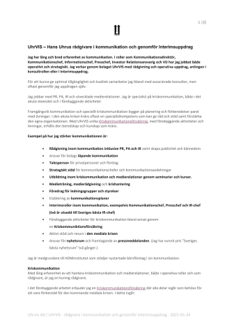 UhrVIS – Hans Uhrus rådgivare i kommunikation och genomför Interimsuppdrag