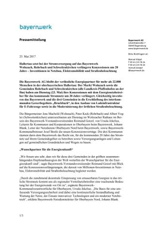 Hallertau setzt bei der Stromversorgung auf das Bayernwerk