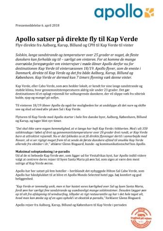 Apollo satser på direkte fly til Kap Verde
