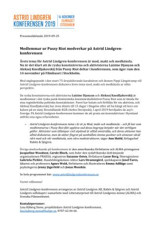 Medlemmar ur Pussy Riot medverkar på Astrid Lindgren-konferensen