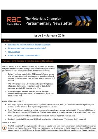 RAC Parliamentary Newsletter #8 - January 2016