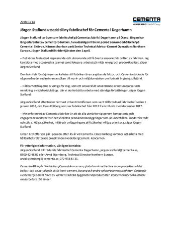 Jörgen Staflund utsedd till ny fabrikschef för Cementa i Degerhamn