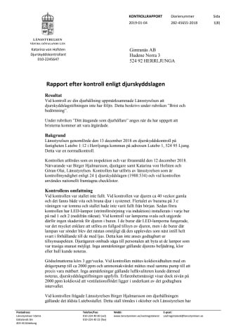 Kontrollrapport länsstyrelsen Västra Götaland - Gimranäs AB