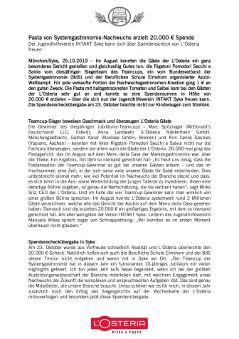 Pasta von Systemgastronomie-Nachwuchs erzielt 20.000 € Spende
