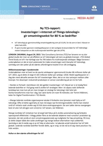 Ny TCS-rapport: Investeringer i «Internet of Things-teknologi» gir omsetningsvekst for 80 % av bedrifter