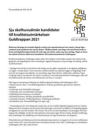 Sju skolhuvudmän kandidater till kvalitetsutmärkelsen Guldtrappan 2021