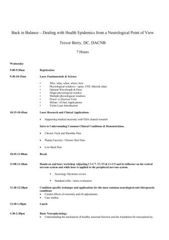 Agenda för Back to Balance seminarie London