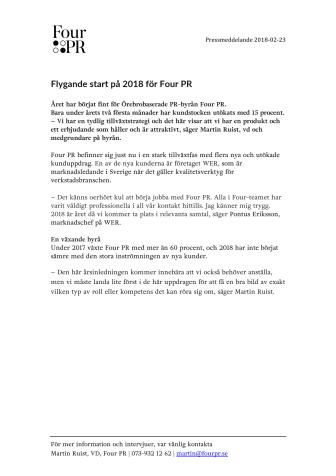 Flygande start på 2018 för Four PR
