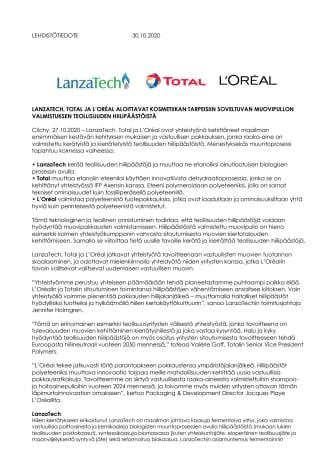 LANZATECH, TOTAL JA L'ORÉAL ALOITTAVAT KOSMETIIKAN TARPEISIIN SOVELTUVAN MUOVIPULLON VALMISTUKSEN TEOLLISUUDEN HIILIPÄÄSTÖISTÄ.pdf