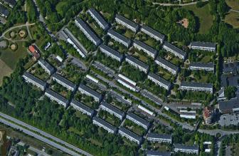 Stadsdelen Linero i Lund, flygbild