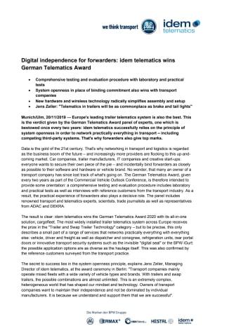 Digital independence for forwarders: idem telematics wins German Telematics Award