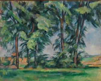 Paul Cézanne: Høye trær ved Jas de Bouffan / Tall Trees at the Jas de Bouffan (ca 1883), The Samuel Courtauld Trust, The Courtauld Gallery, London
