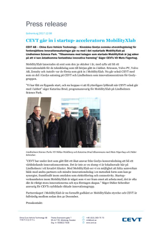 CEVT joins the startup accelerator MobilityXlab