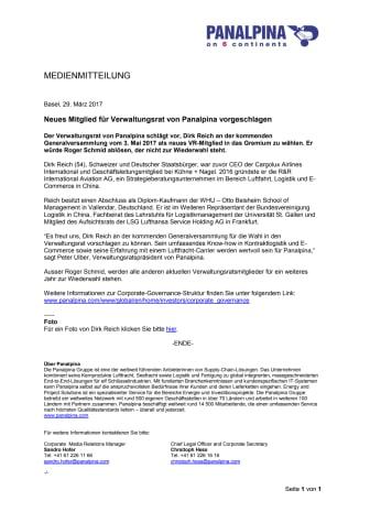 Neues Mitglied für Verwaltungsrat von Panalpina vorgeschlagen