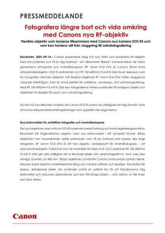 Pressmeddelande Canon RF 100-400mm F5.6-8 och RF 16mm F2.8.pdf