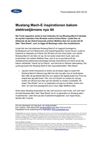 Mustang Mach-E inspirationen bakom elektrostjärnans nya låt