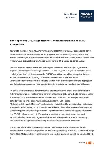 LähiTapiola og GROHE gentænker vandskadeforsikring ved DIA Amsterdam