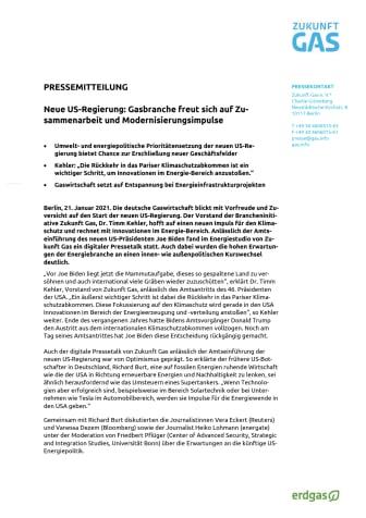 Neue US-Regierung: Gasbranche freut sich auf Zusammenarbeit und Modernisierungsimpulse
