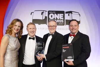 Go North East collecting the Operator Training Award at last year's routeone Awards