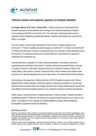 Televisa renews and expands capacity on Eutelsat satellites