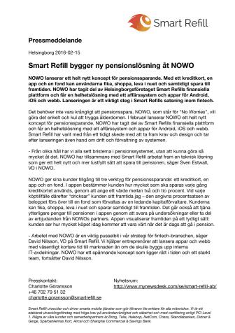 Smart Refill bygger ny pensionslösning åt NOWO
