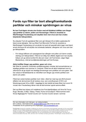 Fords nya filter tar bort allergiframkallande partiklar och minskar spridningen av virus