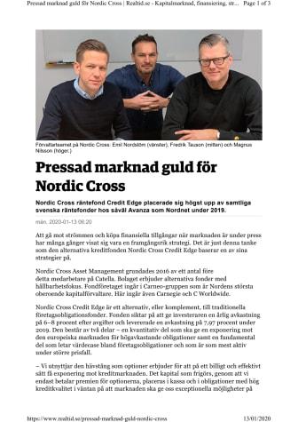 Pressad marknad guld för Nordic Cross
