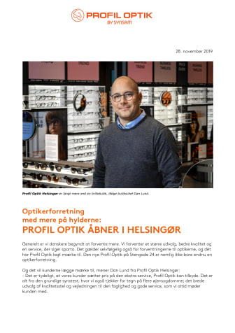 PROFIL OPTIK ÅBNER I HELSINGØR