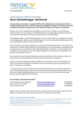 Swedacs utredning: Stora förändringar vid brexit