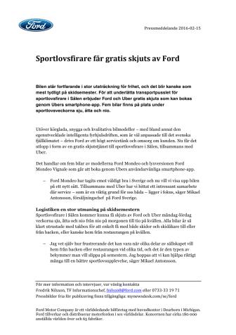 Sportlovsfirare får gratis skjuts av Ford