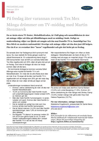 På fredag äter varannan svensk Tex Mex - många drömmer om TV-middag med Martin Stenmarck