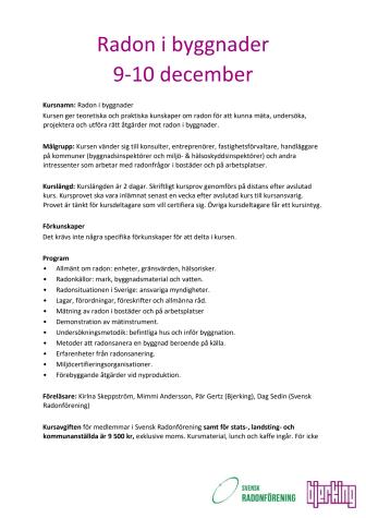 Kurs - Radon i Byggnader 9-10 december - Anmäl dig redan idag