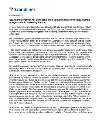 Scandlines eröffnet mit dem dänischen Verkehrsminister die neue Umgehungsstraße in Nykøbing Falster