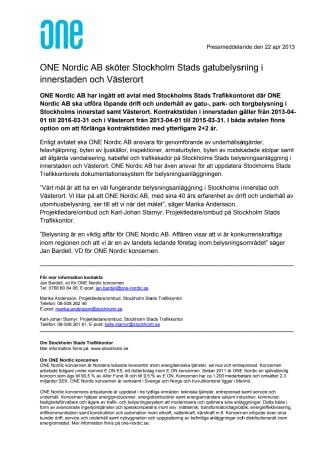 ONE Nordic AB sköter Stockholm Stads gatubelysning i innerstaden och Västerort
