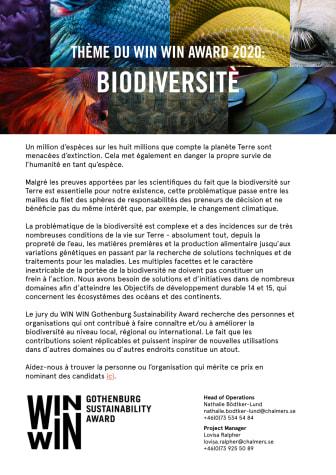 Thème du WIN WIN Award 2020 – Biodiversité