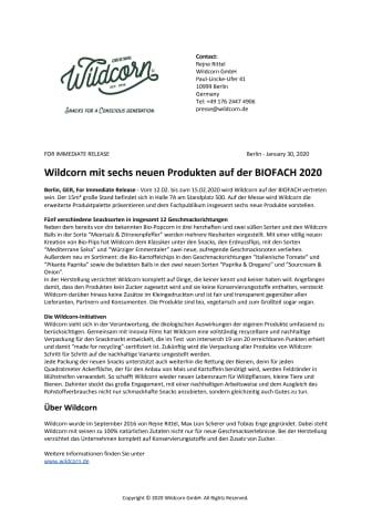 Wildcorn mit sechs neuen Produkten auf der BIOFACH 2020