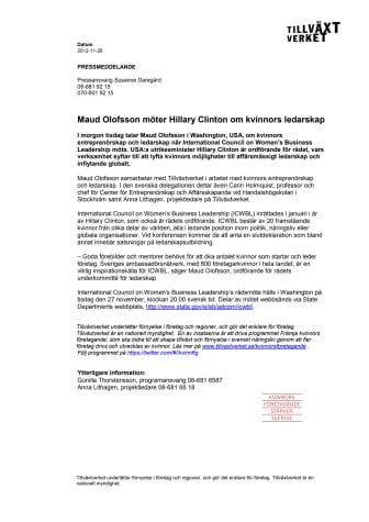 Maud Olofsson möter Hillary Clinton om kvinnors ledarskap