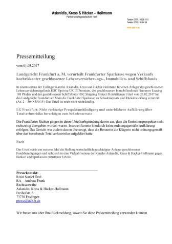 HSC Optivita UK III, Hannover Leasing 188 & HSC Shipping Protect II: LG Frankfurt verurteilt FraSpa