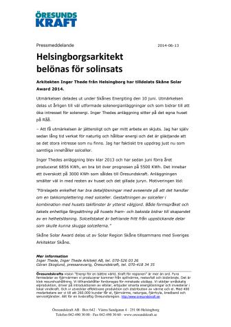 Helsingborgsarkitekt belönas för solinsats