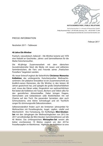 Hutschenreuther - Ole Winther Kollektionen